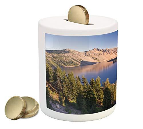 - Ambesonne Lake Forest Piggy Bank, Crater Lake Volcano Oregon American Scenery, Printed Ceramic Coin Bank Money Box for Cash Saving, Dark Khaki Pale Peach Violet Blue Azure Blue