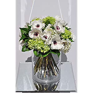 Silk Blooms Ltd Artificial White Anemone and Snowball Floral Arrangement w/Green Leaves and Glass Vase 2