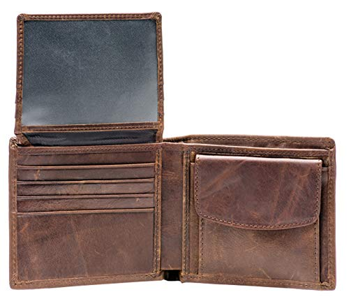 RFID Blocking Genuine Leather Bifold Wallet for Men with Zipper and Coin Pocket (Coin Wallet Pocket)