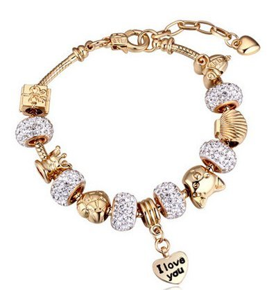 P2P@zita Gold Plated Snake Chain Glass Crystal Beads