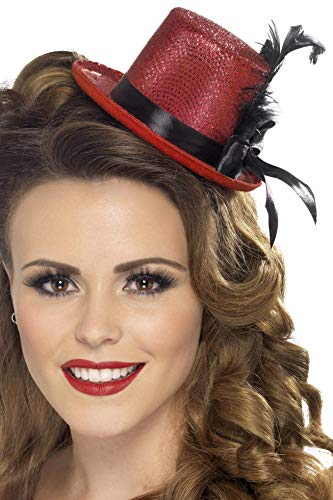 Smiffys Women's Mini Top hat, Red, One Size, 28433 -