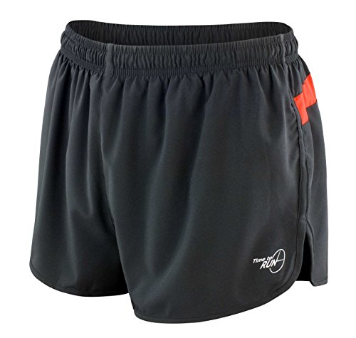 Time to Run Men's Pace Running Short Large Black/Fire Red (Short Split Running Shorts compare prices)