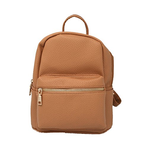 Casual Fashion Leather Mini Backpack Bag for Women or Girls Various Styles (AJ118 Light Brown) by AshulyJ