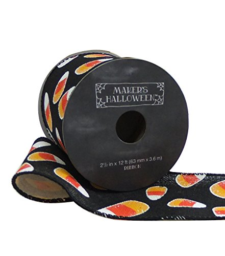 Maker's Halloween Ribbon 2.5'' x 12' Orange Candy Corn on Black Wired Edge for $<!--$16.99-->