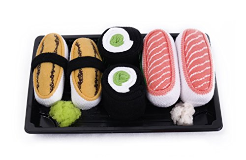 Sushi Socks Box 3 Pairs Tamago Cucumber Salmon Funny Gift  Made In Europe L
