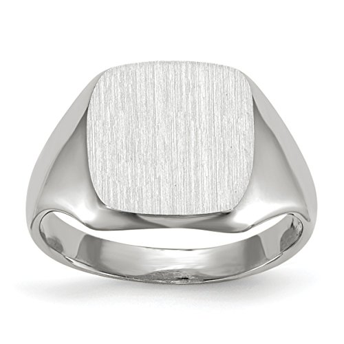 Roy Rose Jewelry 14K White Gold Open Back Square Top Signet Ring Custom Personailzed with Free Engraving Available Initial ~ Size (14k White Gold Initial Ring)