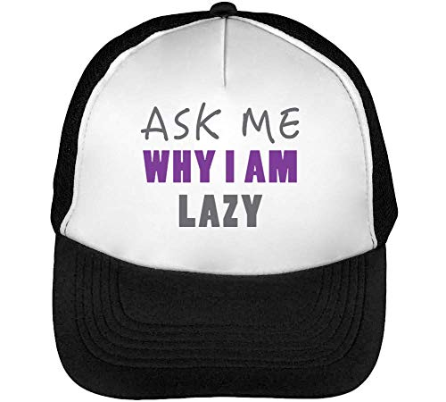 Ask Why I Am Funny College Rave Life Slogan Gorras Hombre Snapback Beisbol Negro Blanco