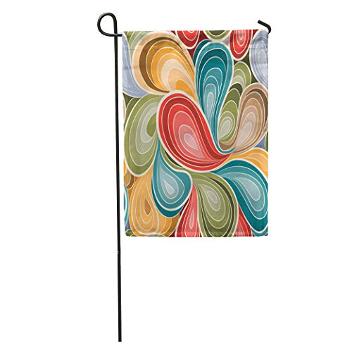 Semtomn Garden Flag 1970S Retro Abstract Pattern 1960S Paisley Funky Floral Flower Water Home Yard House Decor Barnner Outdoor Stand 28x40 Inches Flag