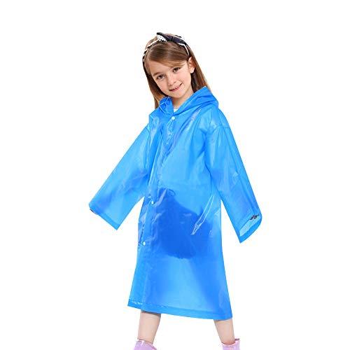 Sunba Youth Rain Poncho, Reusable Rain Poncho,Emergency Waterproof Raincoat Hoods Sleeves,Durable, Portable Perfect Outdoor Activities (Blue)