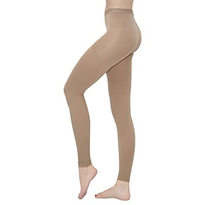 Terramed Advanced Graduated Compression Leggings Women - 20-30 mmHg Footless Microfiber Leggings Tights (Beige, Small): Health & Personal Care