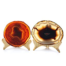 Hongjiantian 2pcs Crystal Natural Sliced Agate Slab Coasters Agate Slice Best Quality