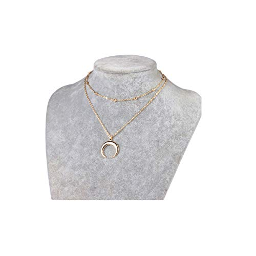 - MOCANALA Moon Layered Necklace, Gold Horn Pendant Crescent Moon Pendant Chain Necklace Multilayer Beaded Ball Chain Choker Necklace for Women (Moon Pendant)
