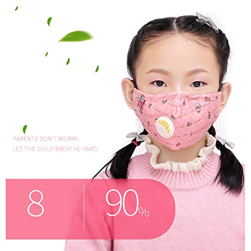 Dlpoyt PM2.5 Kid Respirator Autumn Winter Anti-Haze Dustproof Mask Activated Carbon Filters Cotton with Breathing Valve C