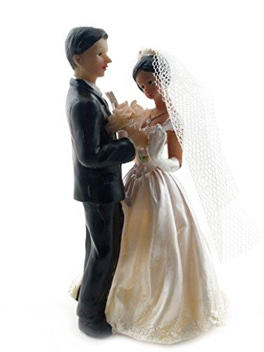 African American Bride in Veil and Groom Cake Top Figurine 4.5
