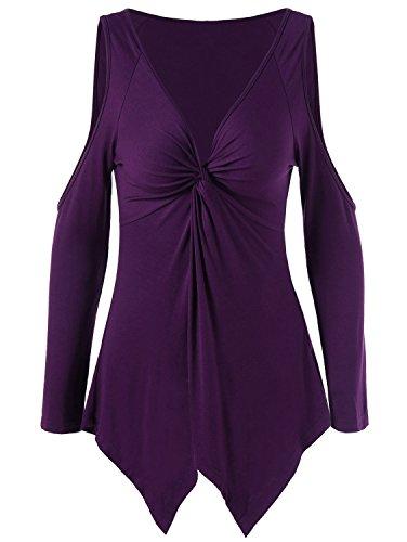 Damen Loose Asymmetrisch T-Shirt Langarm V-ausschnitt Oberteile Schulterfrei Tops Großformat Bluse Shirts