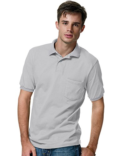 Hanes 0504 Unisex ComfortBlend EcoSmart Jersey Knit Sport Shirt with Pocket Light Steel - Blended Sport Jersey Knit Shirt