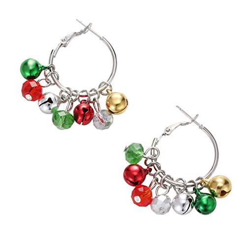 Christmas Bell Hoop Earrings - Hypoallergenic Christmas Jewelry Gift for Women Girls Cute Festive Earring Including Red Green White Yellow Jingle Bell Dangle, Great Gift Idea ()