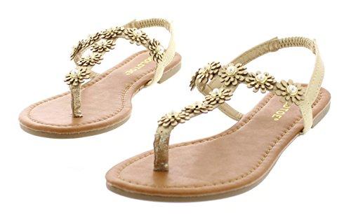 (Gold Toe Women's Malia Glitter Sparkly Flower Pearl Stud Embellished T-Strap Flat Thong Flip Flop Sandal Gold 8 US)