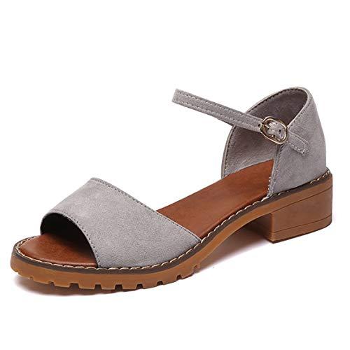Bombas Tobillo de Tacones Gruesos se Heels Las Toes Correa Peep de de ora de Verano Mujeres Zapatos Sandalias Tacones Gruesos Low Zapatos del Zapatos de Zapatos Elegantes UCqT7