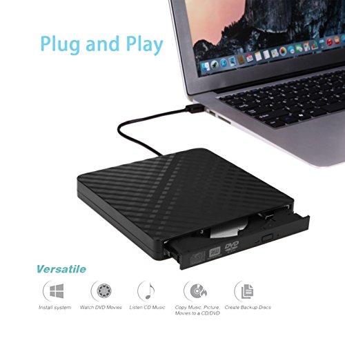 External CD/DVD Drive for Laptop & Macbook USB 3.0 Plug Quick Data Transfer, Fast Writing & Reading Speed 8 X DVD –R, Ultra Thin - Tecnugiz by TOBSKBY (Image #8)
