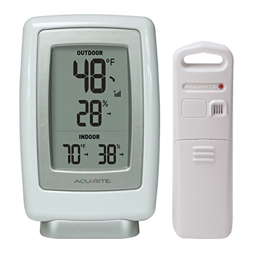AcuRite 00611 Indoor Outdoor Thermometer with Wireless Temperature Sensor & Hygrometer