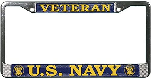 Navy Veteran Decal Navy Veteran License Plate Frame Gift Bundle with U.S Butler Online Stores U.S