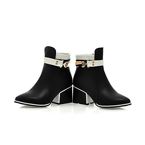 A de Negro Girls Winkle Tacones Pinker Hebilla gruesos botas cuero imitado N qqnPxHwzr