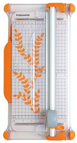 Fiskars 1003921 - Cizalla rotatoria portátil, A4, con guía de la línea de corte