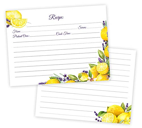 50 Lemons & Lavender Recipe Cards Thick Double Sided 4 x 6 Inch- Wedding, Kitchen, Bridal Shower Card, Blank Printable for Binder or Box Made in the USA (Lemons & Lavender) (Printable Boxes)