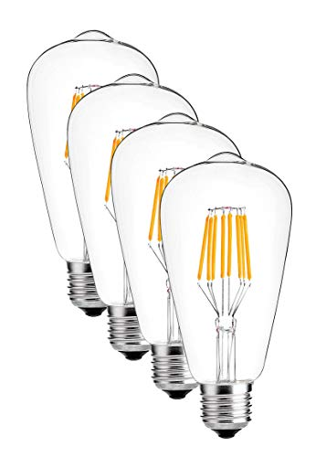 - SleekLighting ST64 Dimmable Vintage Edison LED General Purpose Household Squirrel Cage Filament Light Decorative Bulb E26 Base 800Lumens (8 Watt)