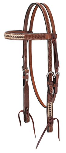 Turquoise Cross Basket Weave with Rawhide Accents Brow Band Headstall - Brow Headstall
