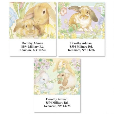 (Personalized Lovely Bunnies Square Easter Address Labels - Set of 144 Self-Adhesive, Flat-Sheet rectangle labels)