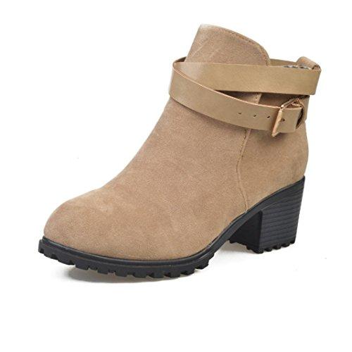 Altura Clásico Hebilla para Mujer K Zapatos Caqui Botas Aumentando Botines cinturón de youth® xXIzHzw