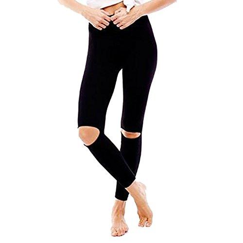 Women's Stretchy Mid Waist Knee Ripped Holes Yoga Tights Leggings Pants (Ripped Leggings Halloween)