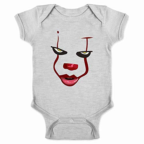 Pop Threads Clown Face Horror Halloween Scary Gray 12M Infant Bodysuit -