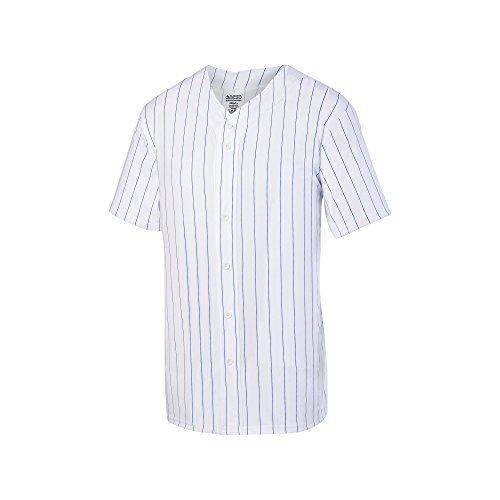 Augusta Sportswear Men's Augusta Pinstripe Full Button Baseball Jersey, White/Royal, Medium