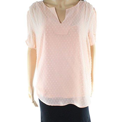 Textured Split Neck - DR2 Blush Womens Large Textured Split Neck Blouse Pink L