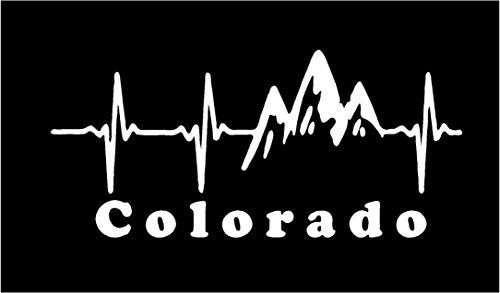 Sticker Rite Here Colorado EKG Heartbeat in The Mountains 8 x 4 (White) (Best Car Camping In Colorado)