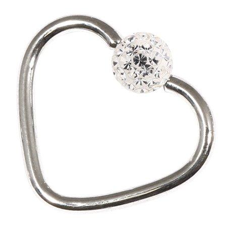 Cœur en acier à Paillettes pour hélix, Daith Jante Piercings. gauge. Diamètre intérieur 1,2 mm 10 mm clair cristal bijou.