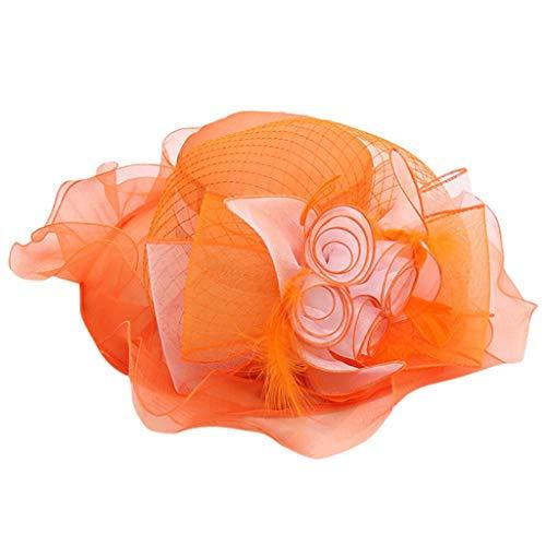 Ximeny Women Race Hats Organza Hat with Ruffles Feathers Wedding Party Hat Orange