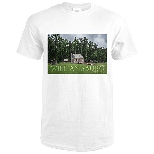 Williamsburg, Virginia - Cabin (Premium White T-Shirt - Williamsburg Premium