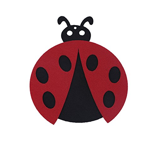 Cute Cartoon Ladybug Felt Drink Coaster Set of 4 Absorbent Cup Mat Pad Non Slip Cup Holder - Red
