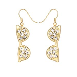 TUSHUO Artistic Eyeglass with Rhinestone Gold-Plated Earrings