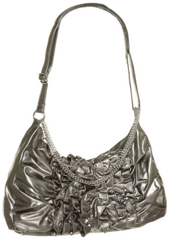 SASHA Ruffle Trim Hobo Shoulder Bag [Af1852NM], PEWTER, Bags Central