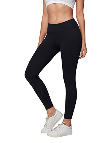 AJISAI Womens Workout Leggings High Waist Tummy Control Yoga Running Pants Color Black Size XL