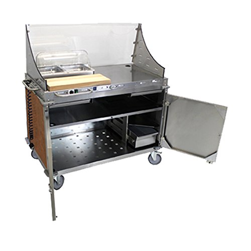 Cadco CBC-DC-L1-D Large Mobile Demo/Sampling Cart Full Size Buffet Server with (2) Solid Locking Doors ()