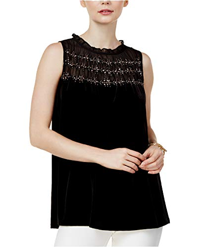 Alfani Velvet Beaded-Yoke Top, Deep Black, M