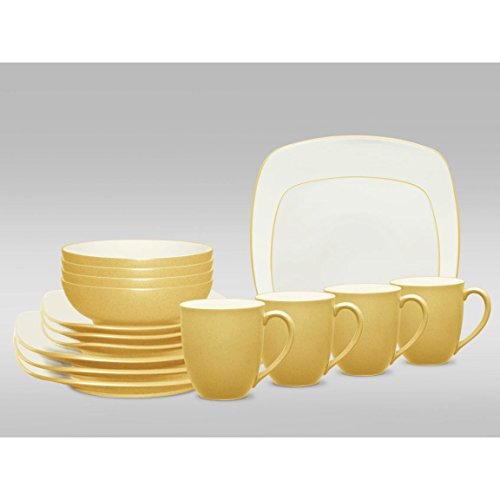 Colorwave Square 16 Piece Dinnerware Set, Contemporary style (Mustard) by Noritake