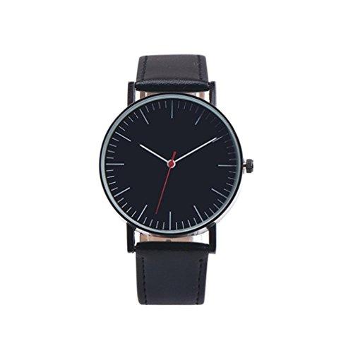 Price comparison product image Napoo Men's Vintage Design Leather Band Analog Alloy Quartz Wrist Watch Big Dial (Black)