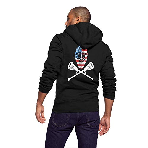 Sportswear Full Zip Up Club Fleece Hoodie Midweight Zip Front Hooded Sweatshirt Jacket for Men Man - Funny Lacrosse Helmet Crossed Sticks -